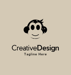 Head monkey cute animal creative logo design vector