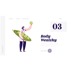 Healthy food industry website landing page woman vector