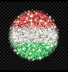 hungary flag sparkling badge vector image