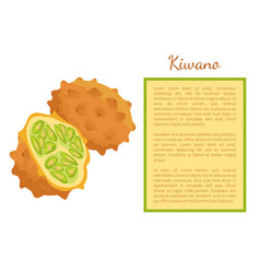 Kiwano exotic juicy fruit poster frame text vector