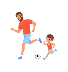 Little boy and his father playing football on vector