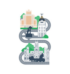 Madrid city landmarks map vector