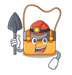 miner menesseger bag color on a cartoon vector image