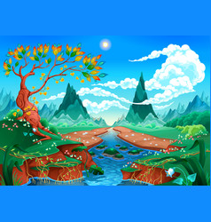 natural landscape with river tree and mountains vector image