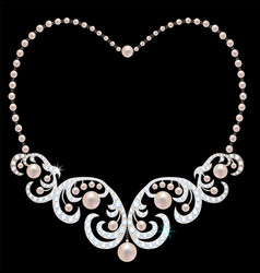 Necklace with pearls and diamonds vector