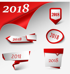 New year card with collection red design pointers vector