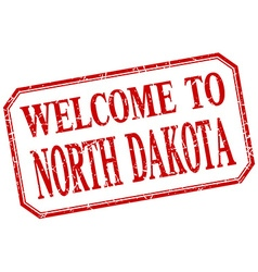 North Dakota - welcome red vintage isolated label vector