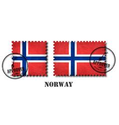 Norway or norwegian flag pattern postage stamp vector