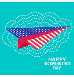 Paper plane and big cloud Dash line independence vector
