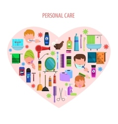 Personal care heart emblem poster vector