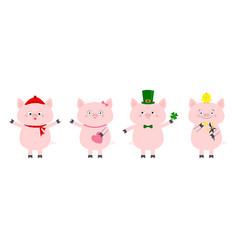 Pig piglet set winter hat scarf pink heart vector