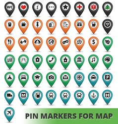 Pin markers for map vector