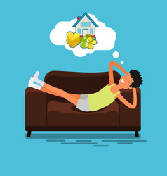 Poor man lying on the couch vector