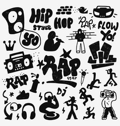Rap doodles set vector