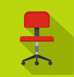 Red office a chair icon flat style vector
