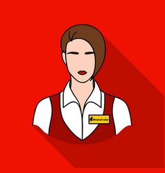 Restaurant waitress with a badge icon in flat vector