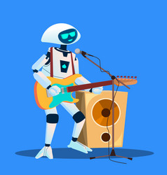 robot playing guitar and singing isolated vector image