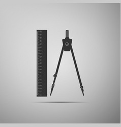 ruler and compass icon geometric equipment vector image