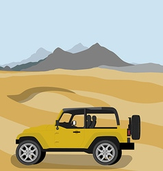 Safari car in desert vector