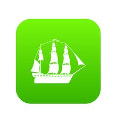 sailboat icon green vector image