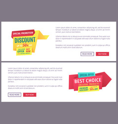 Sale promotional labels sample on landing page vector