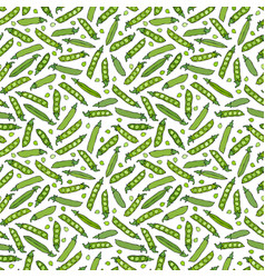 Seamless endless pattern of green peas and peeled vector