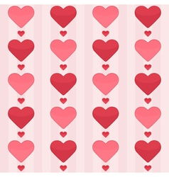 Seamless pattern with red hearts on a pink vector image