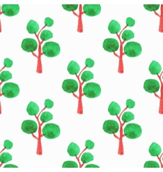 Seamless pattern with trees Hand-drawn background vector image