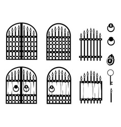 Set forged gate silhouettes vector