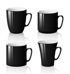 set of black cups isolated on white background vector image