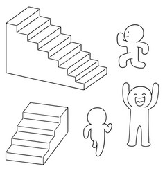 set of people walk upstair vector image