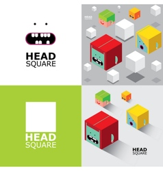Set of square heads vector image