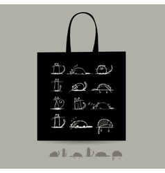 Shopping bag with cats for your design vector image