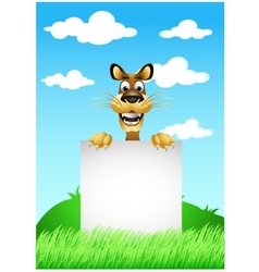 skinny cute cartoon dog with blank sign vector image