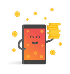 smartphone concept of money earnings a lot of vector image