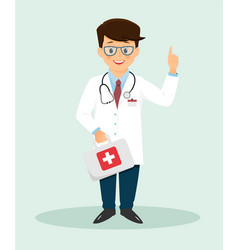 smiling doctor with hand holding index finger up vector image