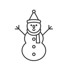 snowman and santa hat outline icon winter and vector image
