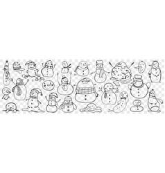 snowman hand drawn doodle set vector image