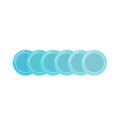 Stack of clean set plates saucers small blue with vector image