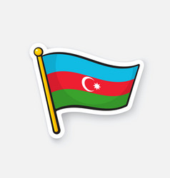 Sticker flag azerbaijan on flagstaff vector