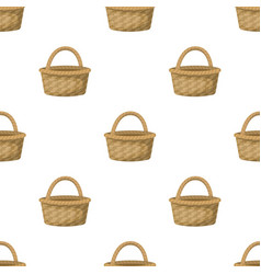 straw basket for carrying fruits and vegetables in vector image