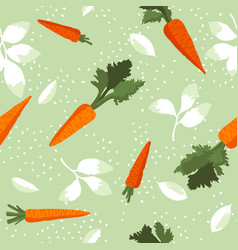 Summer pattern with carrots flowers and leaves vector