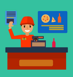 supermarket store counter desk equipment and vector image