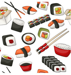 Sushi rolls seamless pattern asian food vector