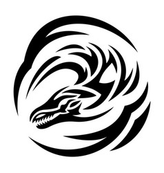tattoo art with black stylized dragon head vector image