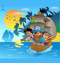 Three pirates in boat near island vector