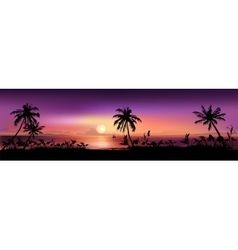 Tropical sunset background vector