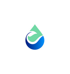 Water drop green leaf logo vector