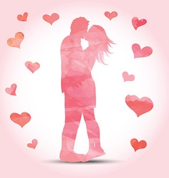watercolour couple with hearts 1612 vector image