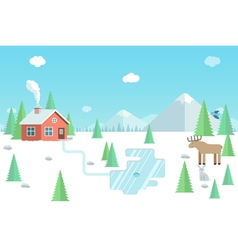Winter landscape with wild animals forest house vector image